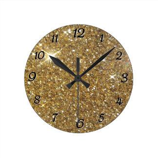 Relógio Redondo Brilho luxuoso do ouro - imagem impressa