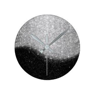 Relógio Redondo Brilho preto Ombre mínimo das cinzas de prata