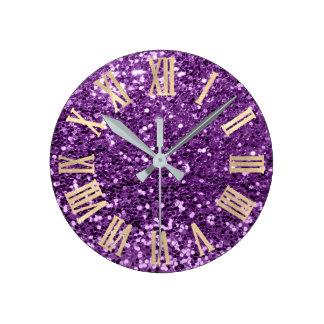 Relógio Redondo Brilho violeta Numers romano metálico Sparkly do