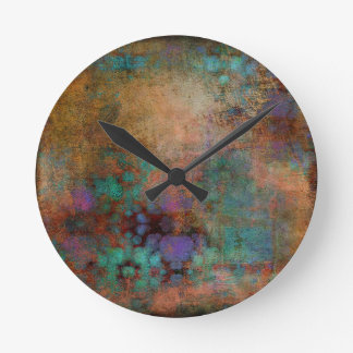 Relógio Redondo Bronze, cerceta, abstrato do roxo
