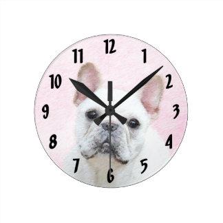 Relógio Redondo Buldogue francês (creme/branco)