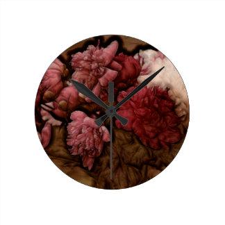 Relógio Redondo Buquê da flor da peônia do Bordéus