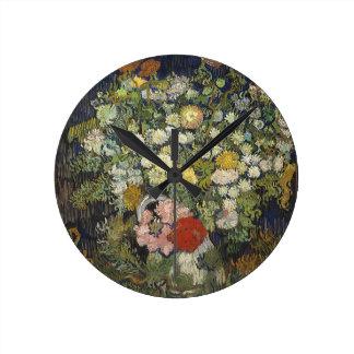 Relógio Redondo Buquê das flores em um vaso