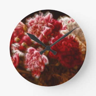 Relógio Redondo Buquê vermelho flamejante da flor da peônia