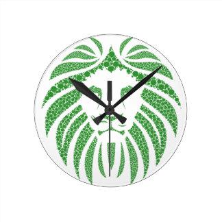 Relógio Redondo Cabeça verde do leão