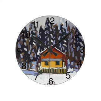 Relógio Redondo Cabine na neve