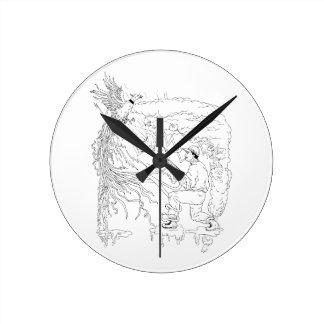 Relógio Redondo Caçador e faisão Ukiyo-e