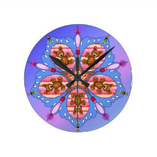 Relógio Redondo Caleidoscópio dos ursos e das abelhas