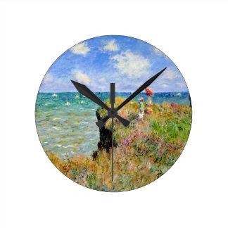 Relógio Redondo Caminhada de Clifftop em Pourville - Claude Monet