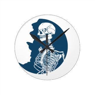 Relógio Redondo camisa da lua azul