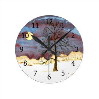 Relógio Redondo Campo do inverno