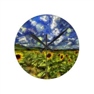 Relógio Redondo Campo Van Gogh do girassol