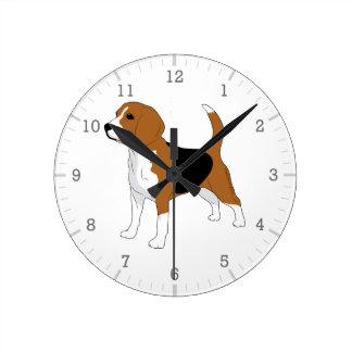 Relógio Redondo Cão do lebreiro que tira o branco preto vermelho