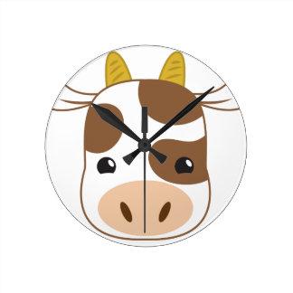 Relógio Redondo cara bonito da vaca