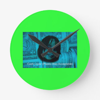 Relógio Redondo Cara do dinheiro do amante do dinheiro (plástico