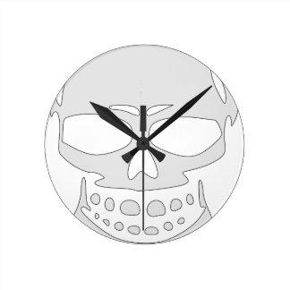 Relógio Redondo Cara irritada do crânio