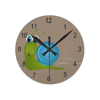 Relógio Redondo Caracol feliz bonito do pulso de disparo do miúdo