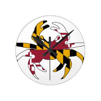 Relógio Redondo Caranguejo da bandeira de Maryland