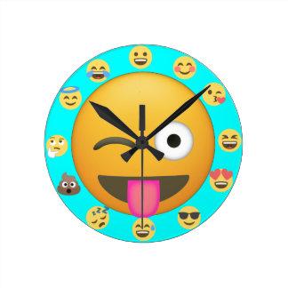 Relógio Redondo Caras diferentes de Emoji para o pulso de disparo