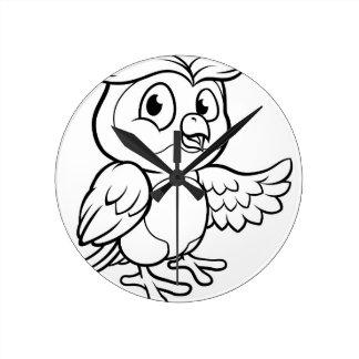 Relógio Redondo Caráter da coruja dos desenhos animados