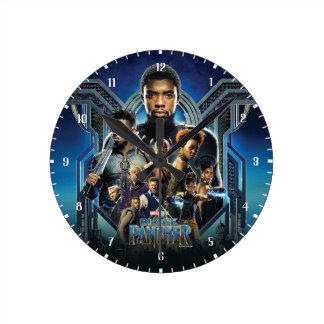 Relógio Redondo Caráteres da pantera preta | sobre Wakanda