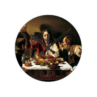Relógio Redondo Caravaggio - ceia em Emmaus - pintura clássica