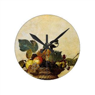 Relógio Redondo Caravaggio - cesta da fruta - trabalhos de arte