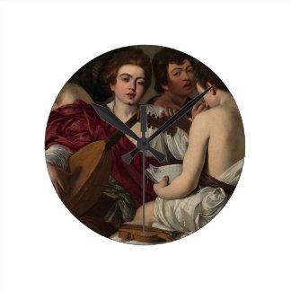 Relógio Redondo Caravaggio - músicos - trabalhos de arte clássicos