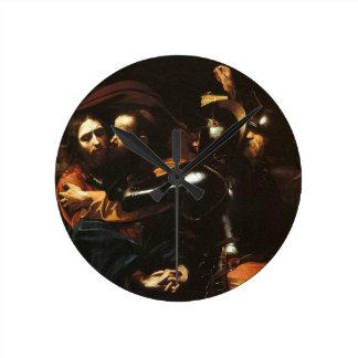 Relógio Redondo Caravaggio - tomada do cristo - trabalhos de arte