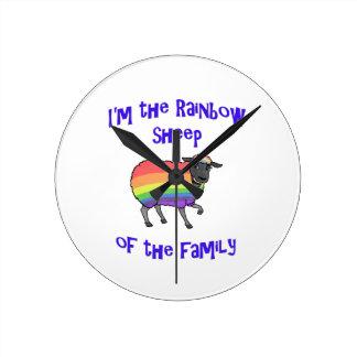 Relógio Redondo Carneiros do arco-íris da família