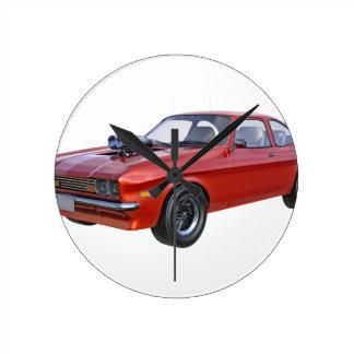Relógio Redondo carro vermelho do músculo dos anos 70