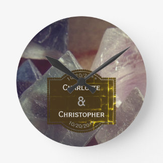 Relógio Redondo Casamento personalizado pedra preciosa da fluorite