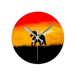 Relógio Redondo cavalo do por do sol