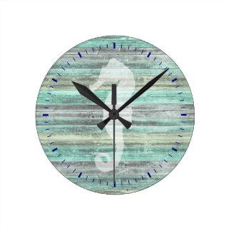 Relógio Redondo Cavalo marinho litoral rústico da decoração
