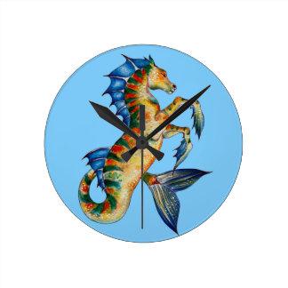 Relógio Redondo Cavalo marinho no azul
