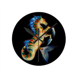 Relógio Redondo cavalo marinho no preto