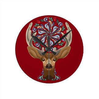 Relógio Redondo Cervos bonitos mágicos da floresta com símbolo do