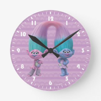 Relógio Redondo Cetim & Chenille dos troll |