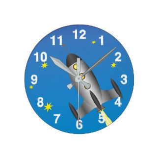 Relógio Redondo Céu estrelado de Rocketship
