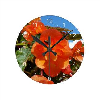 Relógio Redondo céu, flores e abelha