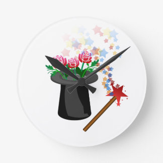 Relógio Redondo chapéu e caneta mágicos
