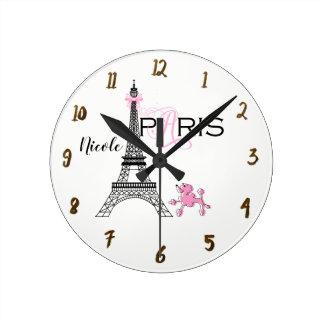 Relógio Redondo Chique da caniche do rosa da torre Eiffel de Paris
