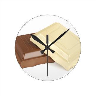 Relógio Redondo Chocolate branco e marrom