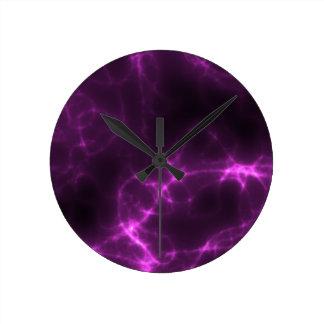 Relógio Redondo Choque eléctrico na magenta