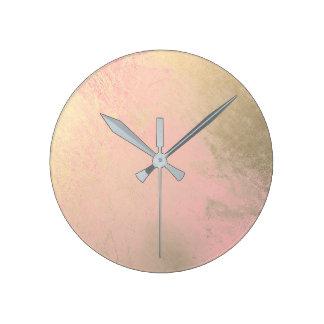 Relógio Redondo Cinzas metálicas da pintura do ouro do rosa do