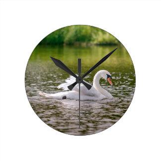 Relógio Redondo Cisne branca em um lago