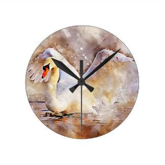 Relógio Redondo Cisne da aguarela