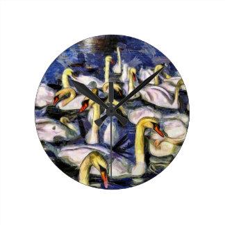 Relógio Redondo Cisnes Vincent van Gogh