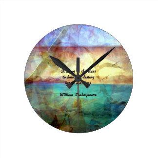 Relógio Redondo Citações inspiradas de Shakespeare sobre o destino