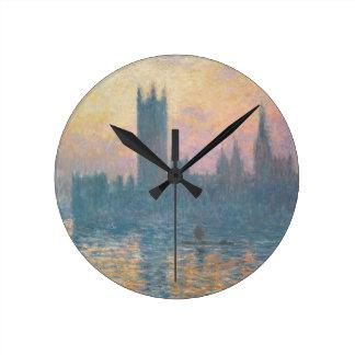 Relógio Redondo Claude Monet | as casas do parlamento, por do sol